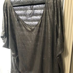 Eileen Fisher metallic silver shirt